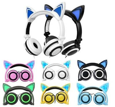 Foldable Cat Ear Overhead Childrens Kids Headphones Earphones for iPad iphone
