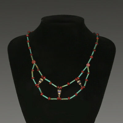 Egyptian New Kingdom Faience Gold and Jasper Necklace