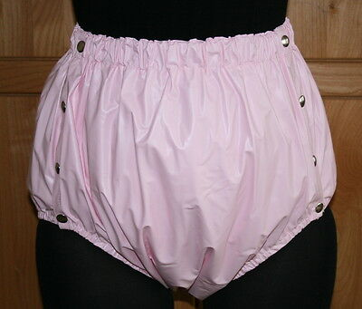 PVC Adult Baby Incontinence Snaper Diaper Rubber Pants Pink