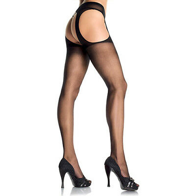 Collant Velato Aperto Hosiery Sheer Suspender Black