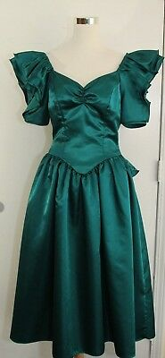 Retro Vintage 80s Satin Teal Green Prom Party Dress Gown 11/12 Large Poof Lace