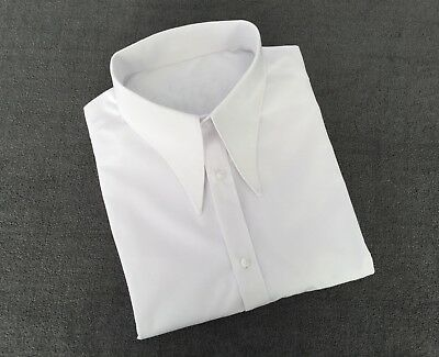 "Men's white 1940's vintage style WWII 17"" spearpoint collar shirt"