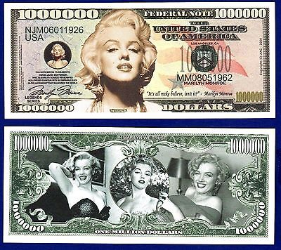 1- MARILYN MONROE MILLION DOLLAR BILL  W/clear protector sleeve  MOVIE- ITEM X