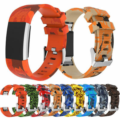 For Fitbit Charge 2 Replacement Wrist Band Camo Soft Strap Bracelet Buckle CA