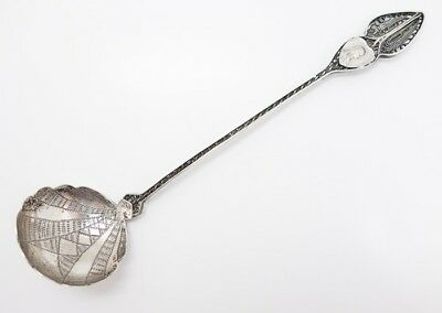 Early 20c Devotional Madonna 800 Silver Ornate Filigree Sauce Cream Ladle