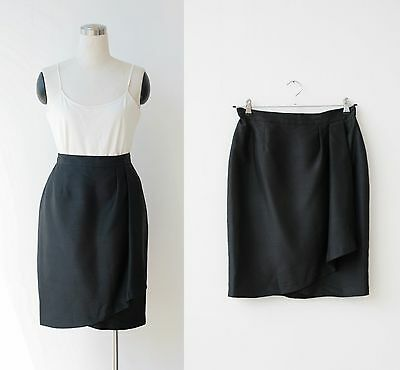 90s vintage black SILK skirt Large, Constance Saunders designer mini skirt L