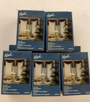 5 Pair of New Kirsch Scarfholders Color -Brass 5458-63