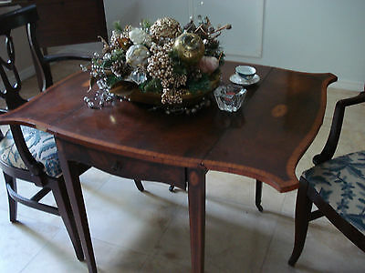 "1890  Drop Leaf Tea Table Mahogany Inlaid 39L""X28""H  Drawer Antique  Appraisal"