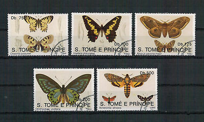 Sao Tomé und Principe, Schmetterlinge | Butterfly MiNr. 1385 - 1389, 1992 used