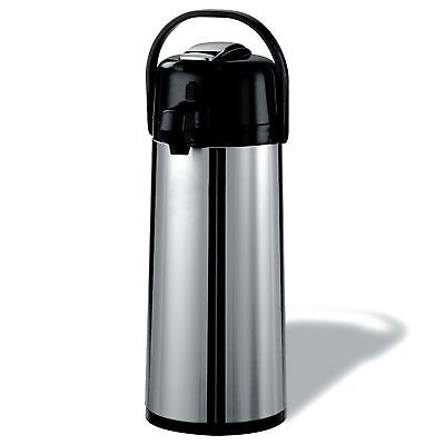 Stainless Steel 2.2 Liter Airpot Glass Interior Keep Hot Coffee Water Milk 8 HRS