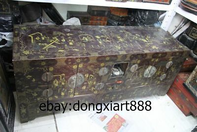 """64"""" Old Chinese Wood Painted Palace Royal Figural Armoire wooden cupboard Chests"""