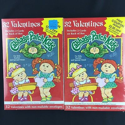 Vintage Cabbage Patch Kids 1992 Valentines Cards Lot of 2 Total of 64 Cards