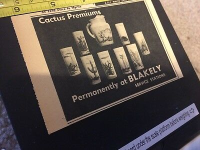 Vintage 1950's Blakely Gas and Oil Premium Advertisement-Cactus Glass