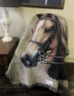 American Saddlebred Horse head portrait Cotton Woven Afghan Throw Blanket NEW