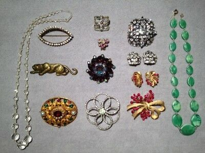 Vintage Lot Of Mixed Costume Jewelry Rhinestone Brooches, Necklaces, Earrings