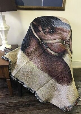 Clydesdale Horse Head Portrait Small Cotton Woven Afghan Throw Lap Blanket NEW