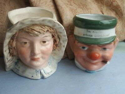 Old Antique German and French Pottery Faience Girl Boy Head Vase Tobacco Pot