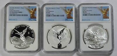 2017 Mexico 3-Coin Silver Libertad Set Proof/Reverse PR70 MS70 NGC Early Release