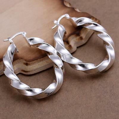 Womens 925 Sterling Silver 43mm Twisted Oval Shaped Vogue Hoop Earrings #E144