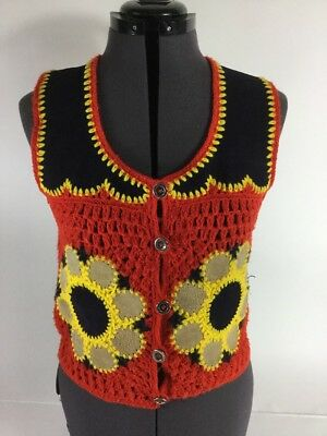 Harpees Vintage Crochet Suede Boho Hippie 70's Vest Medium Ladies
