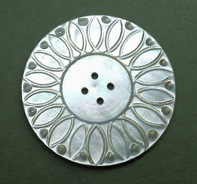 """Xl Antique Carved Pearl Shell Button Snowy White   1 & 9/16"""" Wide"""