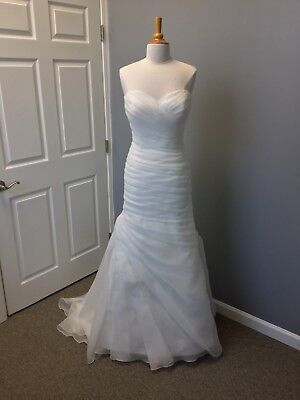 Sincerity Bridal 3915 Ivory Size 14 Ruched Organza  Fit And Flare