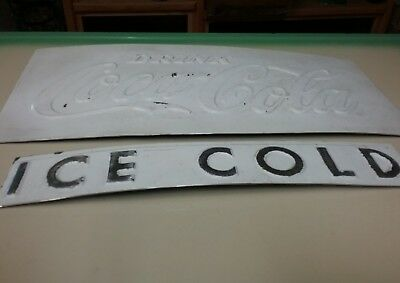 Coca Cola Sign Raised Letters Ice Cold Metal Advertisement Old Cooler Parts
