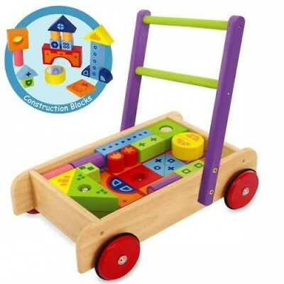 NEW I'm Toy Deluxe Blocks Walker - Baby Kids Wooden Push Along Trolley Wagon Toy