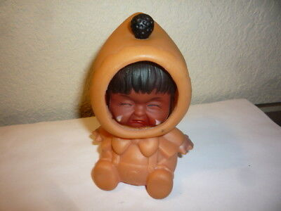 Vintage 3 Face Changing Rubber Eskimo Baby Toy Doll 1950's HONG KONG
