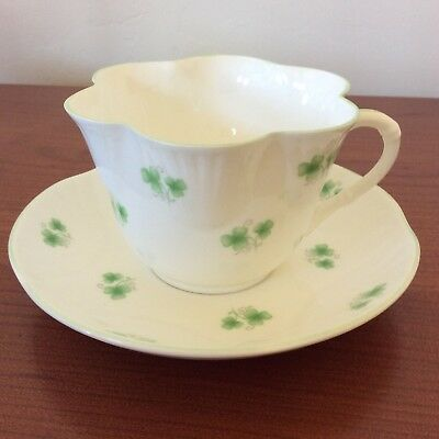 Crown Staffordshire Shamrock Cup & Saucer Dainty Lovely