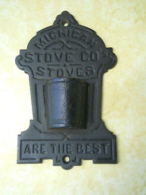 Old Vintage Cast Iron Wall Match Holder Striker Michigan Stove Co. Advertising