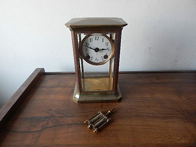 Antique Ansonia Crystal Regulator Clock W Pendulum Runs Good International Sale
