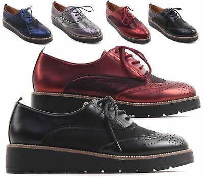 Womens Chunky Wedge Brogue Metallic Flatform Lace Up Creepers Casual Goth Shoes
