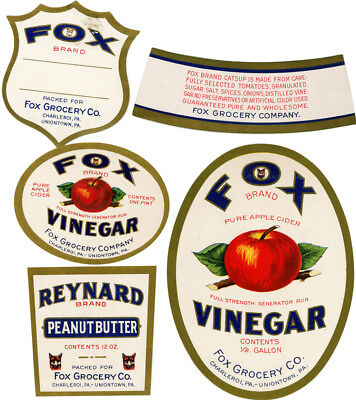 1930s FOX Grocery Vinegar & Peanut Butter Labels + more Charleroi & Uniontown PA