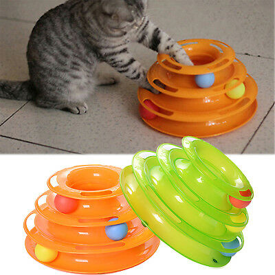 Funny Pet Amusement Trilaminar Toys Crazy Ball Disk Cat Interactive Plate Toy UP