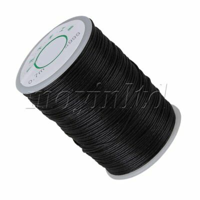 Black Leather Craft Sewing DIY Round Waxed Wax String Linen Thread Cord 0.7mm