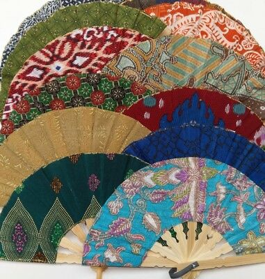 Small Hand held folding hand fan - 16 cm Bamboo and Rayon - Various Colours