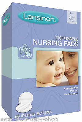 LANSINOH DISPOSABLE NURSING BRA BREASTFEEDING PADS LEAKAGE x60 + x6 BONUS #20265