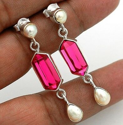10CT Rubellite Tourmaline  925 Sterling Silver Earrings Jewelry 1 2/3'' Long