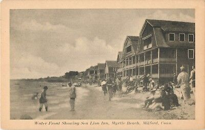 View Of The Waterfront, Sea Lion Inn, Myrtle Beach, Milford, Connecticut CT 1948