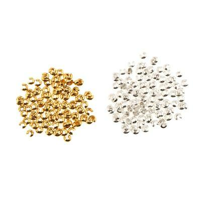 200Pcs Silver Gold Plated Crimp Beads Knot Covers For Jewelry Making 3mm