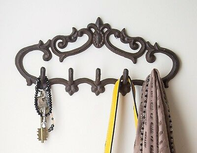Vintage Cast Iron Wall Hanger, 5 Hooks - Keys, Towels, Coats, Rust Colored
