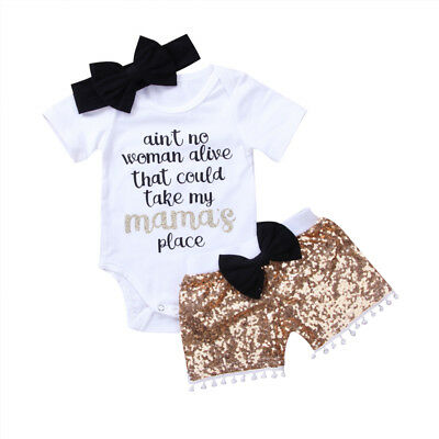 US Seller Baby 3pcs Girl Boy Romper Top Sequins Shorts Pants Outfits Clothes Set