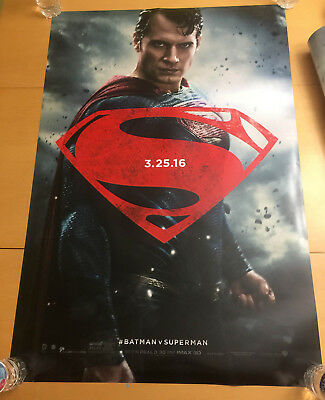 SUPERMAN  Batman v Superman Dawn of Justice Movie Poster 2sided 27x40 in DS