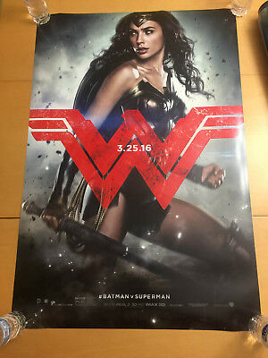 WONDER WOMAN Batman v Superman Dawn of Justice Movie Poster 2sided 27x40 in DS