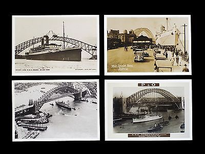 Modern set of 7 P&O postcards showing historic shipping photos (mostly 1930s)