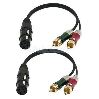 2x XLR Female to 2 x Phono Male RCA Plug Adapter Splitter Cable Lead 30cm