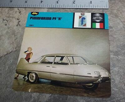 Pininfarina Pf X Automotive Design Jumbo Collectors Card Made In Italy In 1978