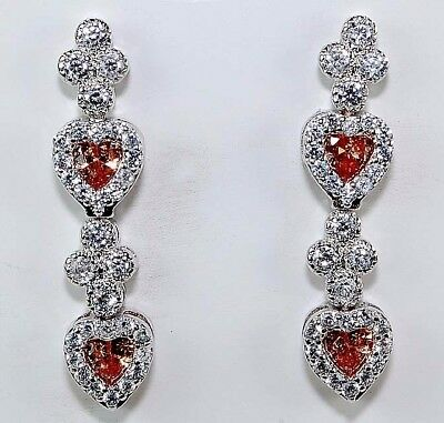 4CT Padparadscha Sapphire & Topaz 925 Sterling Silver Heart Earrings Jewelry
