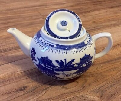 Vintage Blue and White Porcelain Teapot • Pagoda Design Chinese Antique